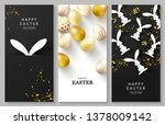 happy easter set of vertical... | Shutterstock .eps vector #1378009142