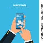 paying taxes using smartphone.... | Shutterstock .eps vector #1378033985