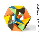 Small photo of A colorful icosahedron isolated on a white background, symbol of a complex mathematics and geometric structure in a three dimensional space