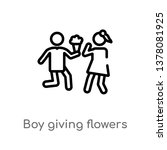boy giving flowers to his... | Shutterstock .eps vector #1378081925