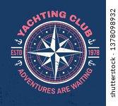 yachting club badge. vector... | Shutterstock .eps vector #1378098932