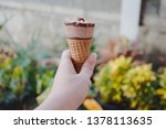 ice cream scoops in cones with... | Shutterstock . vector #1378113635