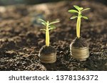 coin stacks in two step with... | Shutterstock . vector #1378136372