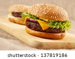 two homemade grilled hamburgers ...   Shutterstock . vector #137819186
