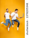 full length of two cheerful... | Shutterstock . vector #1378205348
