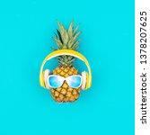 funny fresh pineapple wearing... | Shutterstock . vector #1378207625