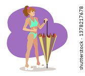 woman in blue bikini 80s with...   Shutterstock .eps vector #1378217678