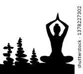 silhouette of woman in yoga... | Shutterstock . vector #1378227302