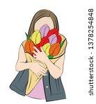 girl hugs a bouquet of flowers. ... | Shutterstock .eps vector #1378254848