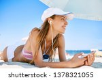 beautiful tanned happy laughing ... | Shutterstock . vector #1378321055