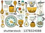 Set Of Hand Drawn Tableware...