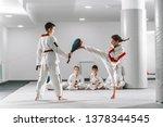 caucasain boy and girl in... | Shutterstock . vector #1378344545