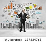 man with four hands and drawing ... | Shutterstock . vector #137834768