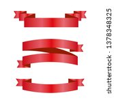 red ribbons set. vector design... | Shutterstock .eps vector #1378348325