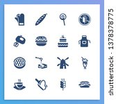 dessert icon set and flour with ...