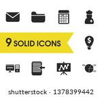work icons set with folder ...