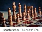 closeup wooden figures on chess ... | Shutterstock . vector #1378444778