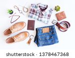 men's casual outfits with blue... | Shutterstock . vector #1378467368