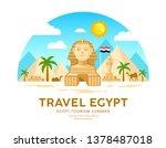 egypt travel vector. pyramid... | Shutterstock .eps vector #1378487018