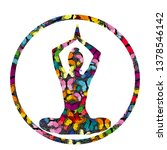 colorful yoga icon with... | Shutterstock . vector #1378546142