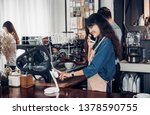 asian barista use tablet take... | Shutterstock . vector #1378590755