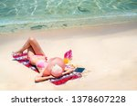 asian lady travel on the beach... | Shutterstock . vector #1378607228