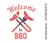 bbq grilled sausages flat hand... | Shutterstock .eps vector #1378626515