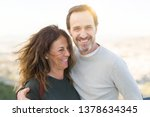 romantic couple smiling and... | Shutterstock . vector #1378634345