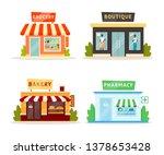 shops facades flat... | Shutterstock .eps vector #1378653428