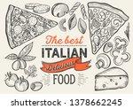 pizza illustration for... | Shutterstock .eps vector #1378662245