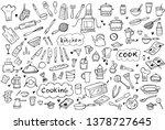 set of doodle kitchen tools on... | Shutterstock .eps vector #1378727645