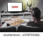 pizza in delivey box with tv... | Shutterstock . vector #1378743182