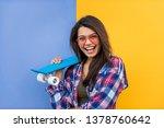 portrait of stylish pretty girl ... | Shutterstock . vector #1378760642