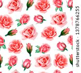 watercolor floral pattern with...   Shutterstock . vector #1378766255
