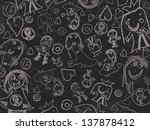 children's drawings on a black ... | Shutterstock . vector #137878412