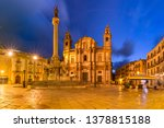 Beautiful night view of Piazza San Domenico, Column of the Immaculate Conception and Church of Saint Dominic in Palermo, Sicily, southern Italy