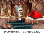 kid scouts exploring cave... | Shutterstock .eps vector #1378903202