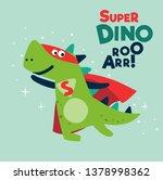 Funny Dinosaur In Superhero...
