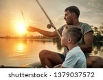 happy father and son together... | Shutterstock . vector #1379037572