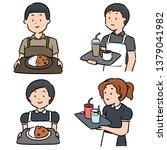 vector set of waiter and... | Shutterstock .eps vector #1379041982