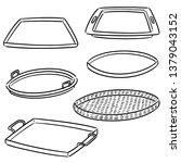 vector set of tray | Shutterstock .eps vector #1379043152