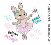 Cute Rabbit Girl Ballerina Wit...