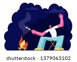 young man sitting at campfire...   Shutterstock .eps vector #1379063102