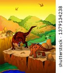 cartoon tyrannosaurus and... | Shutterstock .eps vector #1379134238