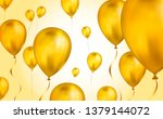 glossy gold flying helium... | Shutterstock .eps vector #1379144072