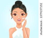 beautiful woman with tan skin... | Shutterstock .eps vector #1379157152