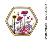 hexagon shape label with cute... | Shutterstock .eps vector #1379168015
