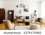 stylish beige armchair and pouf ... | Shutterstock . vector #1379170982