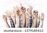 row of man hands showing... | Shutterstock . vector #1379185412