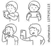 vector set of people using... | Shutterstock .eps vector #1379191115